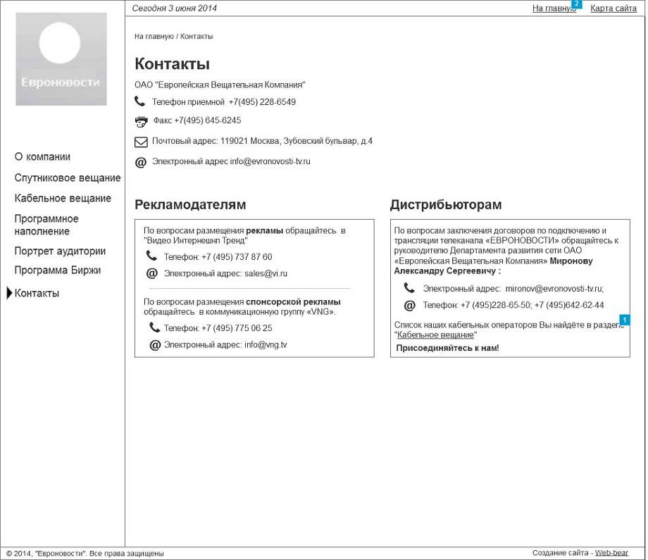 Проектирование интерфейса страницы Контакты