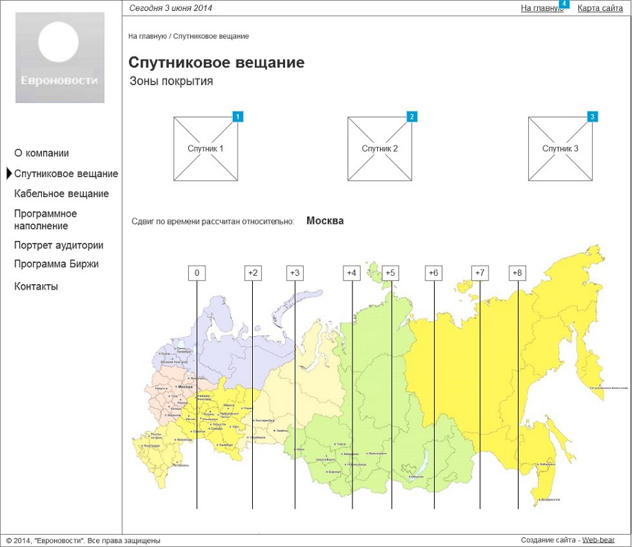 Проектирование интерфейса страницы Спутниковое вещание