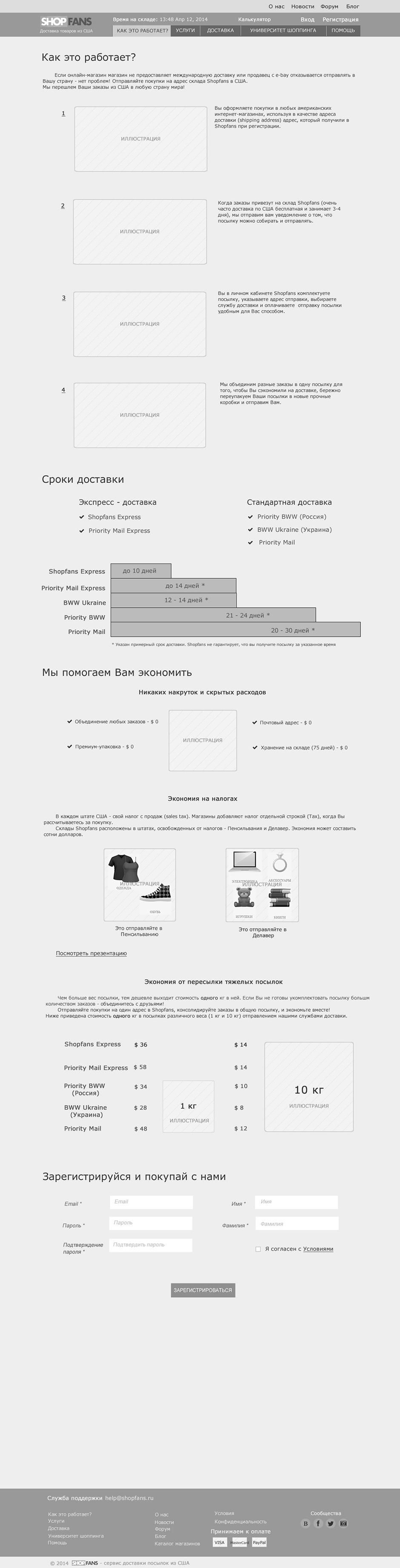 Проектирование веб интерфейса для Shopfans