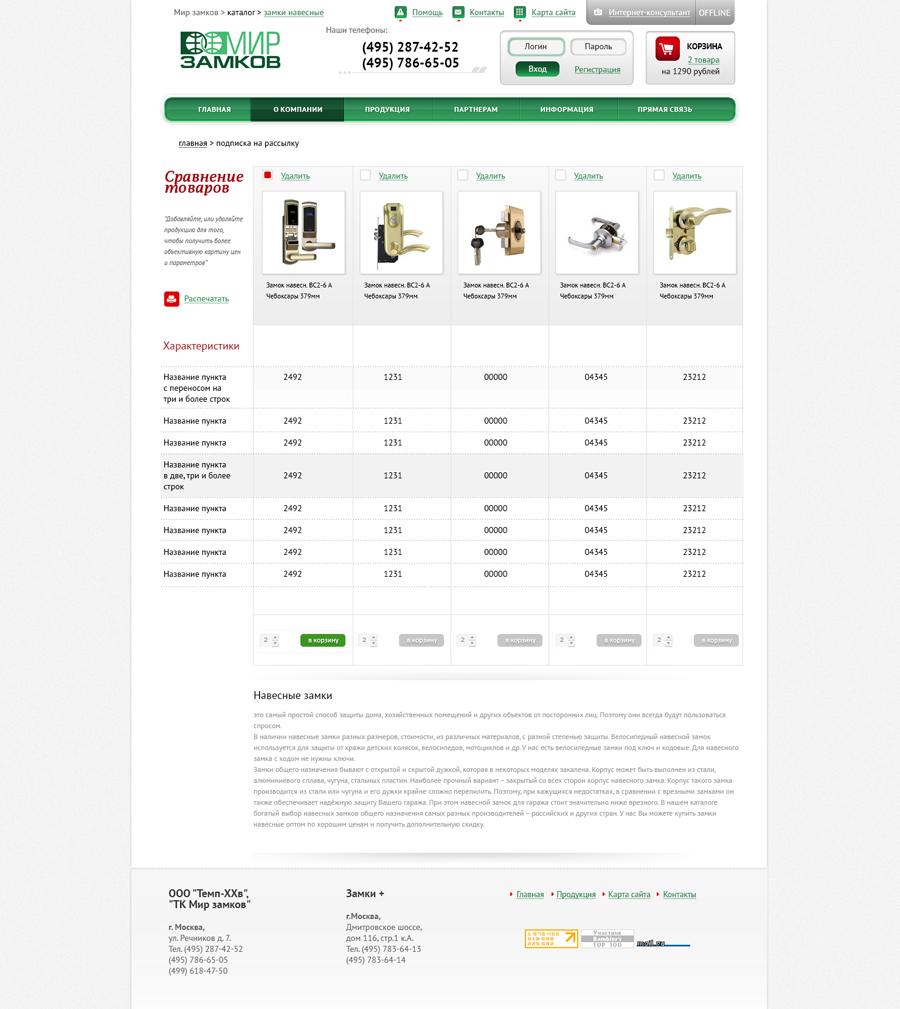 Создание Дизайна сайта для оптового поставщика замков